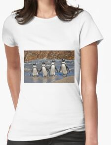 funny image of  four walking African Penguin Womens Fitted T-Shirt
