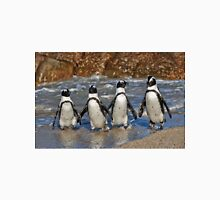 funny image of  four walking African Penguin T-Shirt