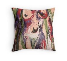 Palette Knife Nude Throw Pillow