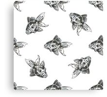 golden fish ink pattern Canvas Print