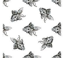 golden fish ink pattern Photographic Print