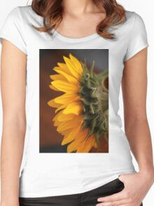 Gold Petals and Green Women's Fitted Scoop T-Shirt