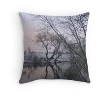 Snowy day by the riverside Throw Pillow