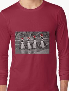 Penguins with Santa Claus caps Long Sleeve T-Shirt