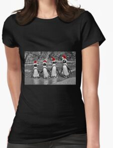 Penguins with Santa Claus caps Womens Fitted T-Shirt