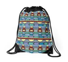 Bright colorful abstract  geometric pattern with different elements Drawstring Bag
