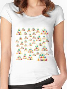 Geometric Multicolor Triangle Pattern Women's Fitted Scoop T-Shirt