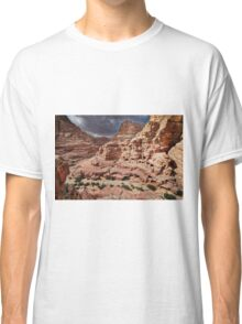 rock landscape with simple tombs in Petra Classic T-Shirt