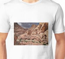 rock landscape with simple tombs in Petra Unisex T-Shirt