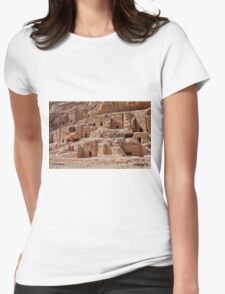 facade street in Nabataean ancient town Petra Womens Fitted T-Shirt
