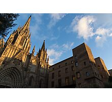 Warm Sun Glow On The Cathedral Of Barcelona Photographic Print
