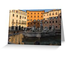 Early Morning Warmth - Neptune Fountain on Piazza Navona in Rome, Italy Greeting Card