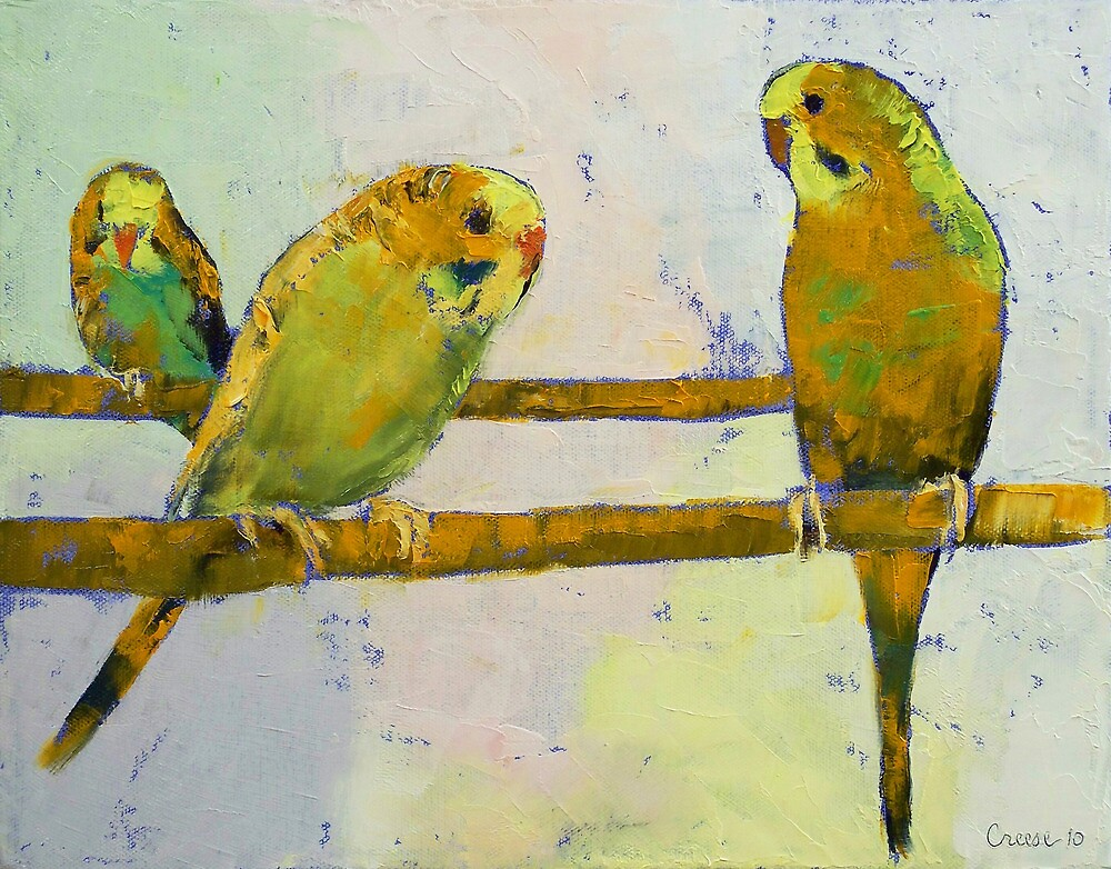 Three Parakeets by Michael Creese