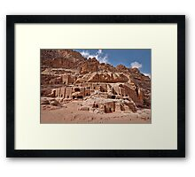 facade street in Nabataean ancient town Petra Framed Print