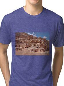 facade street in Nabataean ancient town Petra Tri-blend T-Shirt