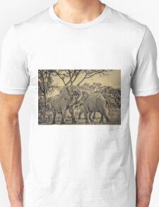 fighting male African bush elephant BW T-Shirt