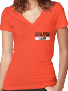 Asylum Inmate #0801 aka Joker's uniform Women's Fitted V-Neck T-Shirt