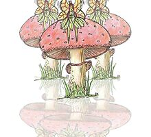 Dainty Fairies Sat on Toadstools by evokevisual