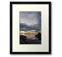 Waterscape In Gray And Yellow Framed Print