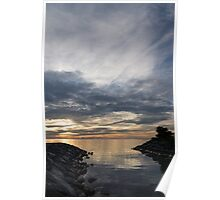 Waterscape In Gray And Yellow Poster