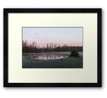 Pink Pond - A Peaceful Daybreak On The Farm Framed Print