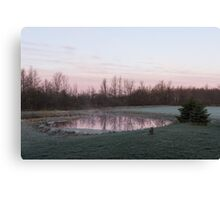 Pink Pond - A Peaceful Daybreak On The Farm Canvas Print