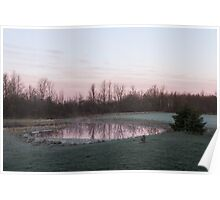 Pink Pond - A Peaceful Daybreak On The Farm Poster
