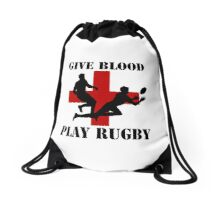 Give Blood Play Rugby Drawstring Bag