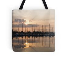 Heavenly Sunrays - Peaches-and-Cream Sunrise with Yachts Tote Bag