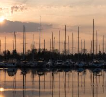 Heavenly Sunrays - Peaches-and-Cream Sunrise with Yachts Sticker