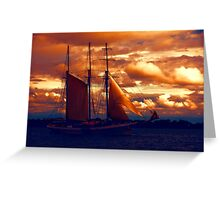 Tallship - Moody Blues and Powerful Oranges Greeting Card