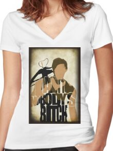 Daryl - I Ain't Nobody's Bitch - The Walking Dead Women's Fitted V-Neck T-Shirt