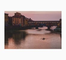 Impressions Of Florence - Ponte Vecchio Rowing In Rose Quartz Pink Baby Tee