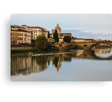Impressions Of Florence – Ponte Santa Trinita Boating Canvas Print