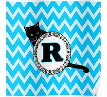 R Cat Chevron Monogram Poster