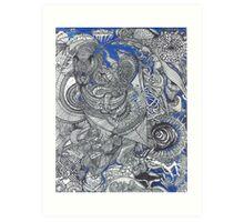 Black & Blue Mirror Art Print