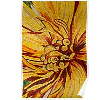 Mesmerizing Golds and Yellows - a Floral Ceramic Tile Mosaic Poster