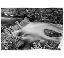 Mountain Stream Waterfall in Black and White Poster
