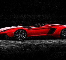 Lamborghini Night Oil Painting by Fred Seghetti