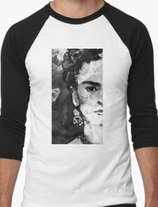 Black And White Frida Kahlo by Sharon Cummings Men's Baseball ¾ T-Shirt