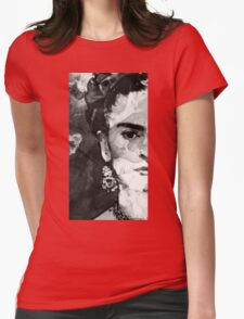 Black And White Frida Kahlo by Sharon Cummings Womens Fitted T-Shirt