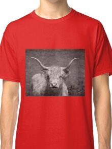 Curious Highlander Black And White Classic T-Shirt