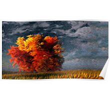 Twilight Fall Tree Oil Painting Poster