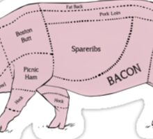 Parts of a Pig with Emphasis on Bacon Sticker