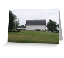 White Barn with American Flag Greeting Card