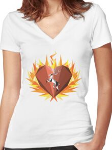 The Flaming Heart Women's Fitted V-Neck T-Shirt