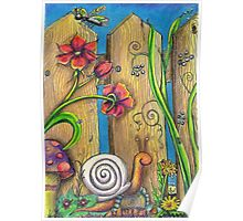 Garden Fence Whimsical drawing Poster