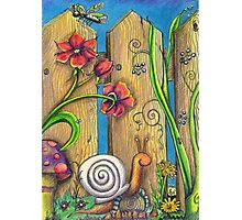 Garden Fence Whimsical drawing Photographic Print