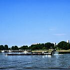 Barge on the Scheldt - Antwerp - Belgium by Gilberte