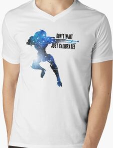 Mass Effect Silhouettes, Garrus - Don't Wait, Just Calibrate! Mens V-Neck T-Shirt